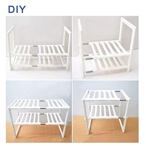 Küchenregale, Küchen Unterschrankregal/ Ablagen Küchenregal/ Gewürzregale/ Standregale perfekt für Spülbeckenunterschrank (Weiß)