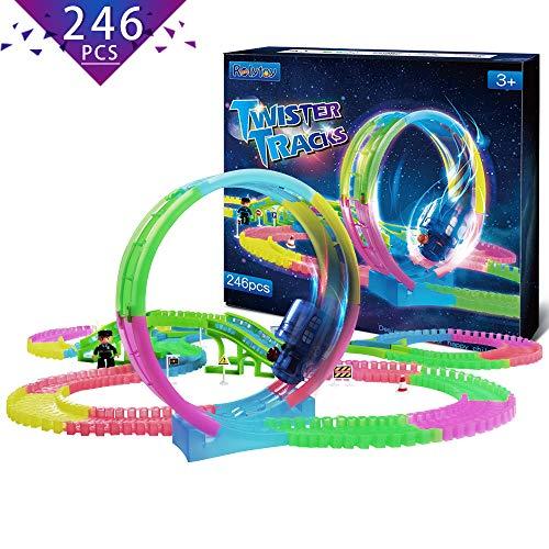 Rolytoy VraiJouet Twister Tracks, 246Pcs 360 Loop Glow Flexible Autorennbahn mit Brücke, Verkehrszeichen, Y-Gabeln, Puppe, LED-Lichtzug mit Musik Fantastic Spielset für Kinder