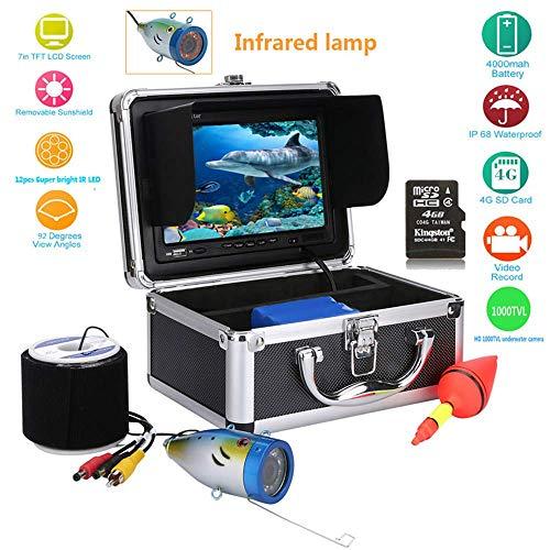 Tragbarer Fischzähler 7-Zoll-LCD-Monitor HD 1000TVL Fishing Camera Waterproof Underwater DVR Video Cam,50M Kabellige Länge, für EIS-, See-und Bootsfischen Dvr Card Kit