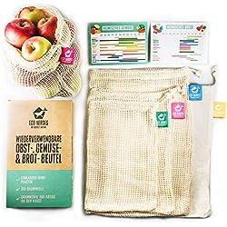 ECO HEROES Gemüsebeutel und Obstbeutel im 5er-Set - EXTRA NACHHALTIG & STABIL aus Bio Baumwolle - Gemüsenetze, Obstnetze & Brotbeutel - plastikfrei & Zero Waste - mit Saisonkalender