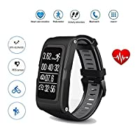 Teepao Heart Rate GPS Waterproof Smart Watch Wristband Bracelet Sport Fitness Tracker Sleep monitor Pedometer Messages Reminder Multi-sport Mode Activity Tracker for Android iOS
