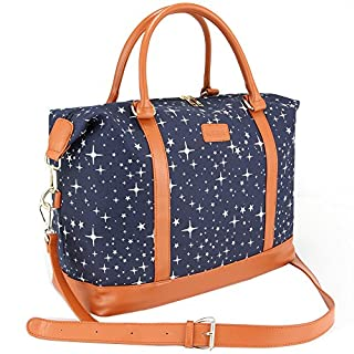 Women Travel Weekender Bag,AIZBO High Fashion Print Star Duffel Bag Overnight/Weekend Bags Carry-on Shoulder Gym Tote Bag with PU Leather Strap,Back Trolley Sleeve for Ladies