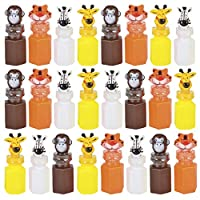 Kicko - 3 Inch Zoo Animal Bubble Bottle - 24 Pieces of Assorted Jungle Figure Blob Holders - for Novelty Toys, Baby Shower, Party Favor and Supplies
