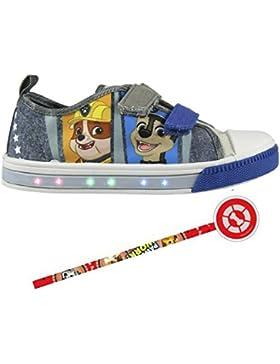 Zapatillas con Luces Patrulla Canina - Bambas de Lona con luz Paw Patrol Casual. Color Vaquero y Gris + Regalo