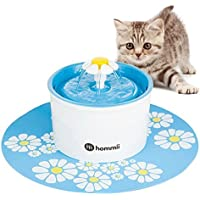 Hommii Fuente de Agua para Perro Gato Forma de Flor, Eléctrico, Tapete Azul-1600 ml, HP-88