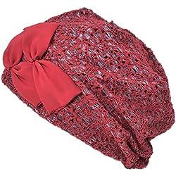 Casualbox Mujer Puntada Banda Boina Gorros Beanie Sombrero Verano Mujer Lindo Rojo