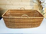 Alpenfell Babykorb Wäschekorb Weidenkorb Tragekorb - 84 x 50 x 31cm, Gross mit Griff, Handarbeit, Sehr Stabil