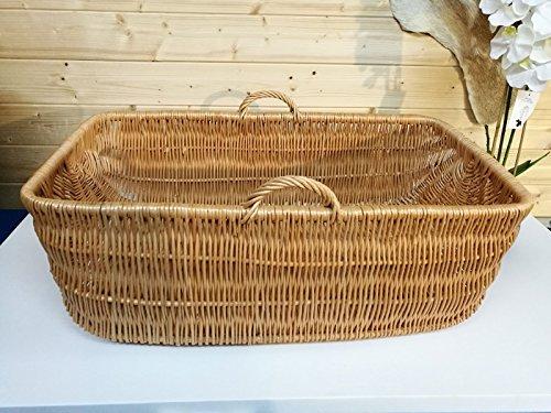 Babykorb Wäschekorb Weidenkorb Tragekorb – 84 x 50 x 31cm, gross mit Griff, Handarbeit, sehr stabil – von Alpenfell