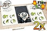 Grill- & Herdabdeckung + Spritzschutz ca. 52 cm x 60 cm x 0,8 cm, hohe Form, 2-tlg. Set weiß, Design mit Schrift Gewürze Oregano, Thymian, Rosmarin, Herdabdeck-/Grill-Schneideplatte Glas, Herdblende,Herdabdeckplatte für Elektroherd Kochfeld-Abdeckplatte