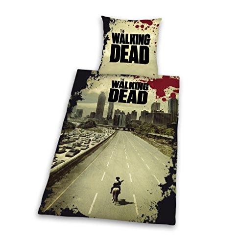 Herding 486588050 Bettwäsche, The Walking Dead, Kopfkissenbezug 80 x 80 cm und Bettbezug 135 x 200 cm, 100% Polyester, Microfaser
