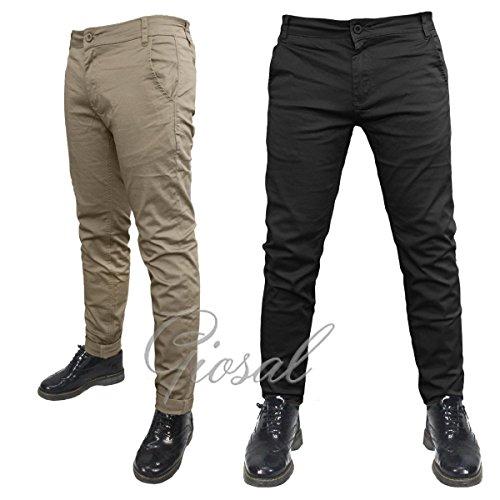 Pantalone Uomo Modello Tasca America Chino Slim Fit Cotone Elastico Colori Vari Nero