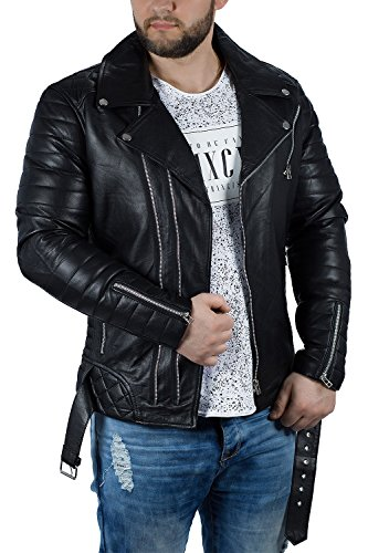 Reichstadt Herren Jacke - RS001LUX Black gen. Leather - Silver Zipper XS