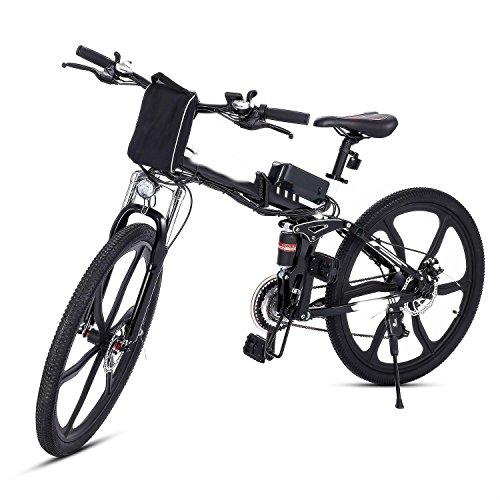 aceshin Bicicletta elettrica pieghevole Mountain bike cerchi a raggi in lega di alluminio Potenza: Sotto 500W