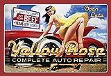 ComCard Yellow Rose Auto Repair Pinup/Pin up Reifen Wechsel Schild aus Blech, metallsign, Tin