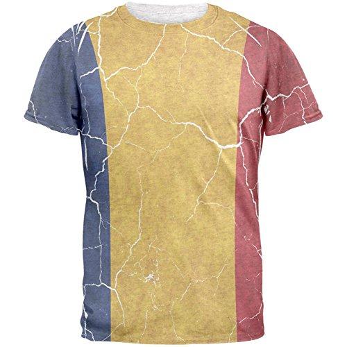 Distressed rumänische Flagge Herren-T-Shirt White