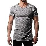 Geilisungren Camisetas de Manga Cortas para Hombre Cuello Redondo Ajustadas Camisetas Deportista Impresión Pullover Casual Verano Polos Shirt Elástico Fitness Tops Gimnasio Músculo Formación Tank Top