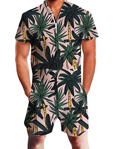 Goodstoworld Herren Jumpsuit Kurz 3D Druck Sommer Zipper Anzug Grandad Shirts Overall Onesie Strampler Tropical Pflanzen XXL