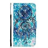 Coopay Fantaisie Motif Attrape Reve Flip Cover Coque pour iPhone XR Glitter Bleu Effet Portefeuille Fille Etanche Antichoc Protection avec Fermoir Magnétique et Support + Dragonne Cou