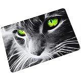 Gnzoe Gummi Teppich Schwarz Weiß Bart Katze Muster Design Teppiche für Flur Schlafzimmer Bunt 40x60CM