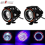 #2: AllExtreme U11 CREE LED light Headlight Spotlight Driving Fog Light for Cars motorcycle Truck Boat with Red Blue Ring Strip Color Light Angel Eye - (Pack of 2)