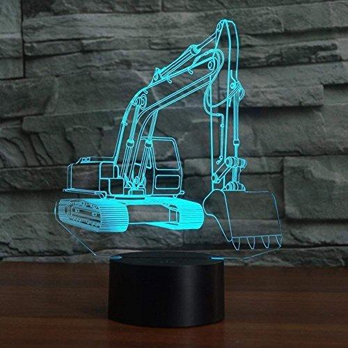 3D Bagger lkw auto traktor Nachtlampe 7 Farben ändern Touch Control LED Schreibtisch Tisch Nachtlicht mit bunten USB Powered für Kinder Kinder Familie Ferienhaus Dekoration Valentinstag Geschenk - Powered Bagger