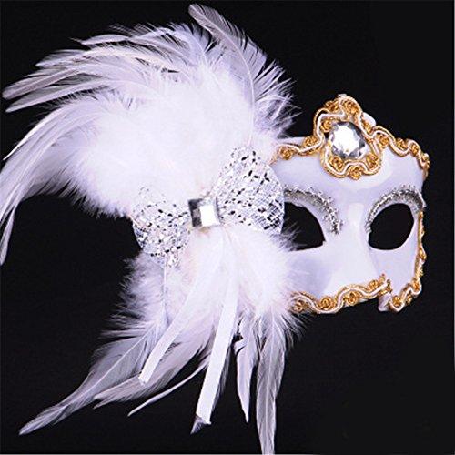 Halloween-Maske Make-up Tanz-Show gemalt Federn halbes Gesicht Spitze schöne Prinzessin Schmetterling Knoten Masken,weiß