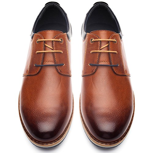 Formal Oxford Derby Schuhe fur Herren - PU Lederschuhe Herren, Beste Wahl fur Hochzeits Geschaft und Tagliche Abnutzung, Bequeme Flache Herrenschuhe, Passend fur Alle Saison SS001-CAMEI-42