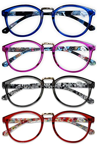 KOOSUFA Lesebrille Damen Herren Leicht Retro Runde Nerdbrille Lesehilfen Sehhilfe Federscharniere Vollrandbrille Anti Müdigkeit Brille mit Stärke 1.0 1.5 2.0 2.5 3.0 3.5 4.0 (4 Farben Set, 2.5)