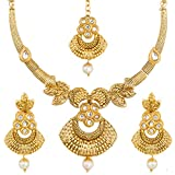 #6: The Luxor Wedding Bridal Jewllery Gold Plated Choker Pearl Necklace for Girls and Women