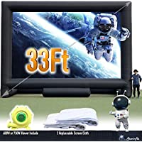 33FT Giant Inflatable Movie Screen Outdoor - Front and Rear Projection - Portable Blow Up Projector Screen for Grand Parties, Easy to Set Up, (with 750W Blower in One Box)