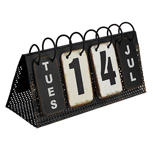 Flip Perücke Kostüm - Zugband Kalender Decor Vintage Ewiger Schreibtisch Kalender Metall Reproduktion 10-3/4