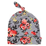 Efaster(TM) Newborn Baby Girl Cute Floral Knotted Hat Good Looking Flowers (Gray)