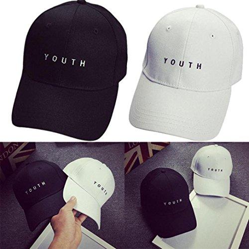 Winkey 2018 Newest Baseball Cap, Embroidery Cotton Baseball Cap Boys Girls Snapback Hip Hop Flat Hat (Black)