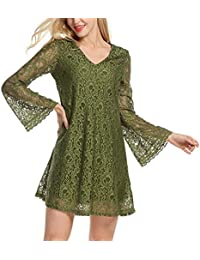 Womdee Women's V Neck Flare Sleeve Crochet Floral Lace A-Line Club Tunic Casual Dress