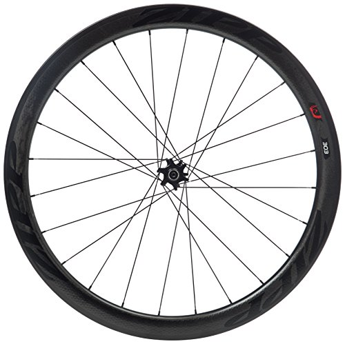 Zipp 303 Tubular Disc Brake V2 77D Front 24 Spokes Black Decal (Special Order) - Rueda para Bicicletas, Color Negro