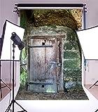 YongFoto 1x1,5m Vinyl Foto Hintergrund Scheune Alte Ric Holztür Verwitterter Rock Stone Arch Grunge Tapete Fotografie Hintergrund für Fotoshooting Portraitfotos Party Kinder Hochzeit Fotostudio Requisiten