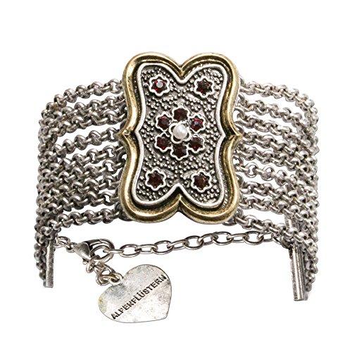 Alpenflüstern Trachten-Armkette Margot - Elegantes Trachten-Armband - nostalgischer Damen-Trachtenschmuck mehrreihig mit Mittelteil Antik-Gold-Farben ()