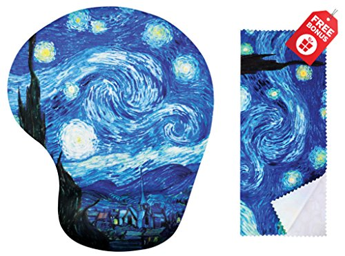 Van Gogh Sternennacht Ergonomische Design Mauspad mit Handgelenkstütze. Gel Handauflage. Passende Mikrofaser Reinigungstuch für Brillen, Autos und Elektronik. Mauspad für Laptop, PC Computer und Mac.