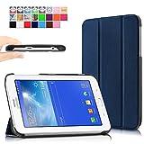 Infiland Samsung Galaxy Tab 3 7.0 Lite Funda Case-Ultra Delgada Tri-Fold Smart Case Cover PU Cuero Smart Cascara con Soporte para Samsung Galaxy Tab 3 7.0 Lite T110 T111 (7 Pulgadas) Tablet(Azul Oscuro)