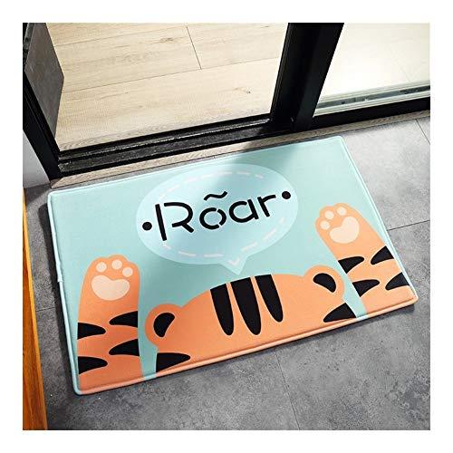 Unbekannt rutschfeste Cartoon-Fußmatten aus Flanell für Zuhause, Badezimmer, Tür, saugfähig, für Zuhause, grün, 40 x 60 cm