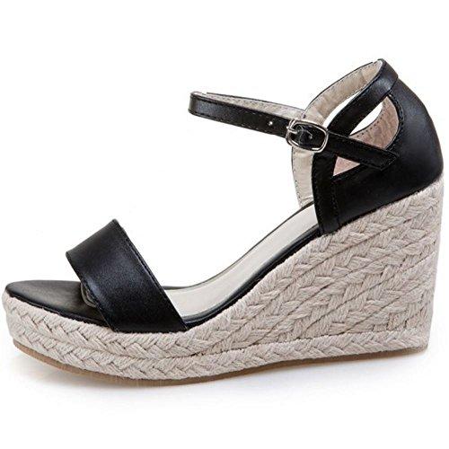 Sandalen Coolcept Keilabsatz Schwarz Mode Knochelriemchen Damen Schuhe Open Toe event q4OAIw4