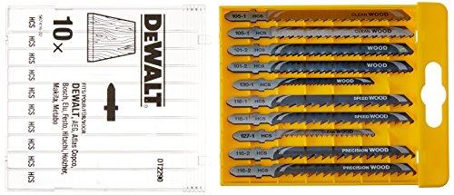 DeWalt DT2290-QZ Juego de 10 hojas de sierra calar para madera