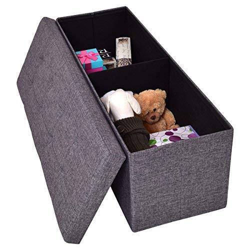 COSTWAY Sitzhocker mit Stauraum Sitzbank Sitzwürfel Sitzbox Aufbewahrungsbox Ottomane Sitztruhe Hocker Bank Truhe Faltbar Farbwahl Leinen 110 x 38 x 38cm (Grau)