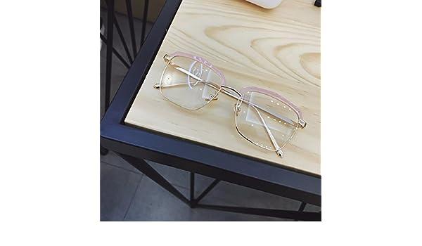 LXKMTYJ Transparente Hälfte Rahmen Flache Linse Square Brillengestell Frauen Männer Gläser, Rosa