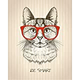 Pitaara Box PB Hipster Cat With Red Glasses Unframed Canvas Painting 18 x 22.5inch
