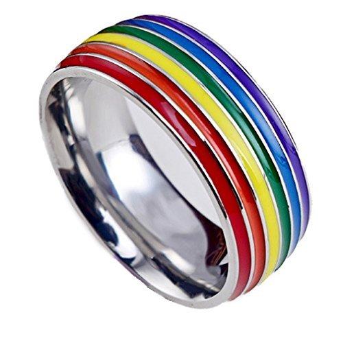 Yazilind Titan Stahl Regenbogen Ringe Mode einfache Party Rock Band Ring Multi Größe optional Größe 21