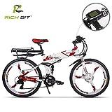 Unbekannt Rich bit rt 860 e-Bike elektrische Erwachsene Batterie li-ion 36 v * 12.8ah Mountainbike Nicht 250 watt Motor LCD Smart E-Bike 26 Zoll Faltrad (rot (eine Batterie))