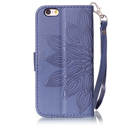 Custodia iPhone 6S Plus, iPhone 6 Plus Cover, ikasus® iPhone 6S Plus/iPhone 6 Plus Custodia Cover [PU Leather] [Shock-Absorption] Goffratura Embossing Floreale Fiore Cranio Campanula Modello Protettiv Fiore Blu