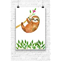 Print Wandbild Poster Bild Wanddeko Faultier Nr.4 OHNE RAHMEN Format A4