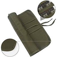 Sorliva - Bolso para pinceles de artista, bolsa enrollable de lona, color verde militar